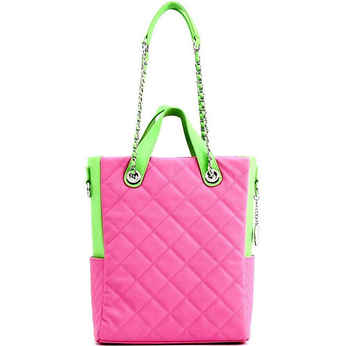Kat Travel Tote Pink & Lime Green