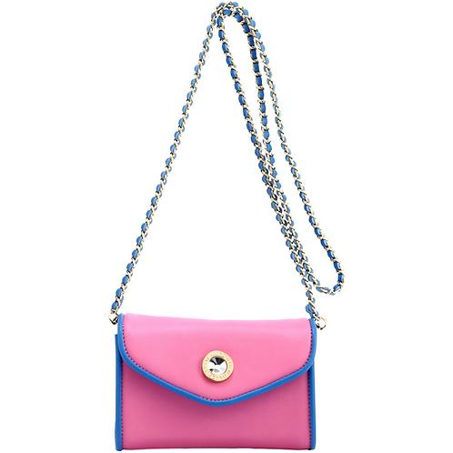 Eva Designer Crossbody Clutch - Pink and Blue