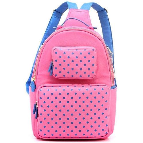 Natalie Michelle Large Polka Dot Designer Backpack - Pink and French Blue