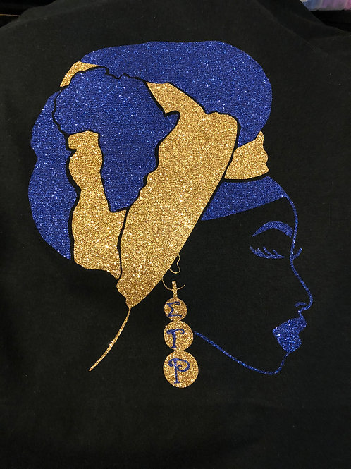 African Headwrap tee(blue & gold)