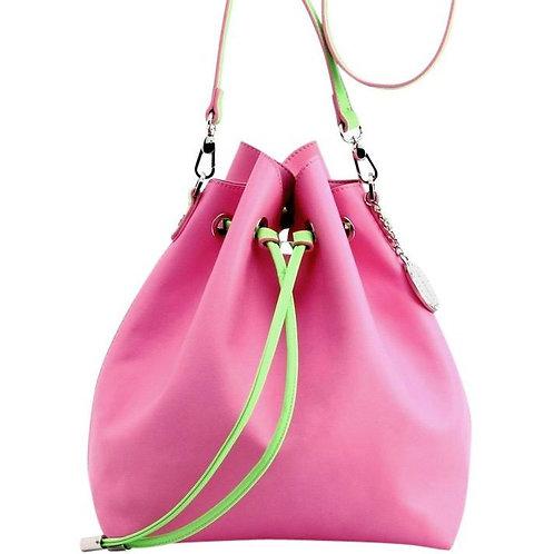 Sarah Jean Crossbody Large BoHo Bucket Bag- Pink and Lime Green