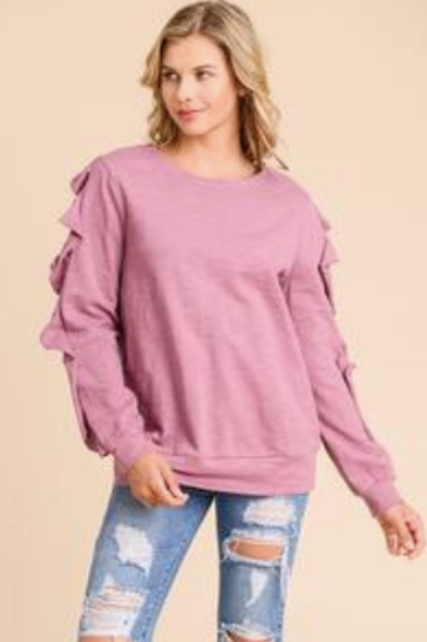 Doe & Rae Ruffle Sleeve Sweatshirt