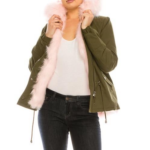 Olive & Pink Fur Trim Short Coat