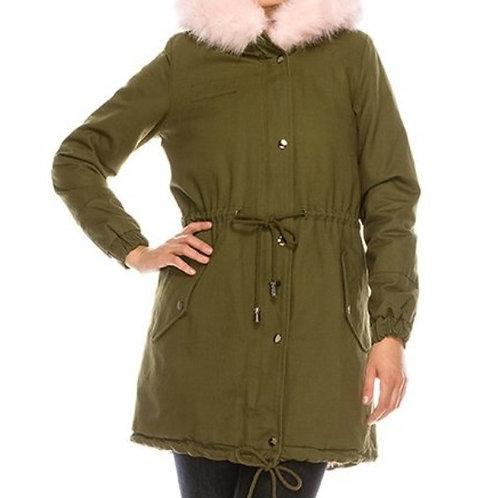 Olive & Pink Fur Trimmed Coat