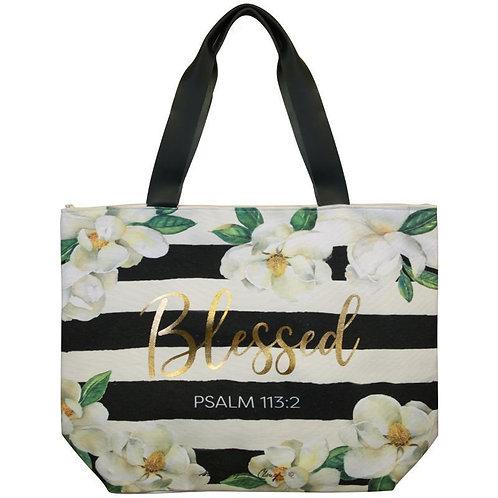 Blessed Magnolia Canvas Handbag