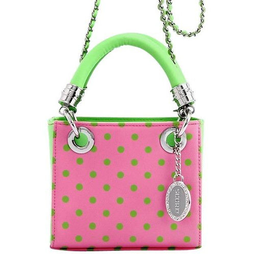 Jacqui Classic Top Handle Crossbody Satchel -Pink and Green