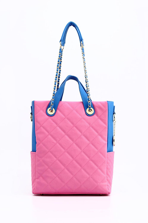 Kat Travel Tote for Business, Work, or School Quilted Shoulder Bag - Pink and Bl