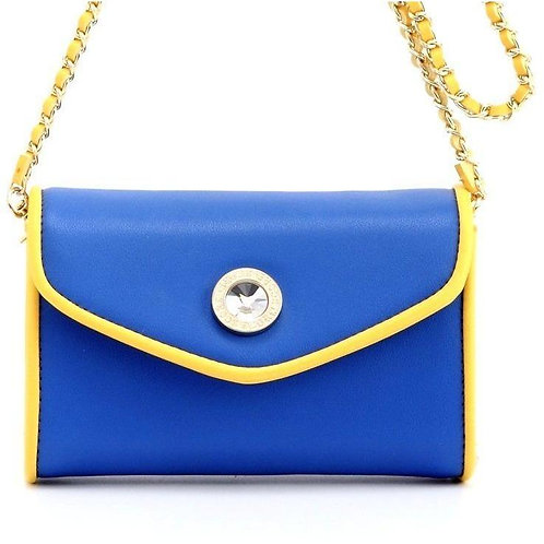 Eva Designer Crossbody Clutch- Royal Blue and Gold Yellow