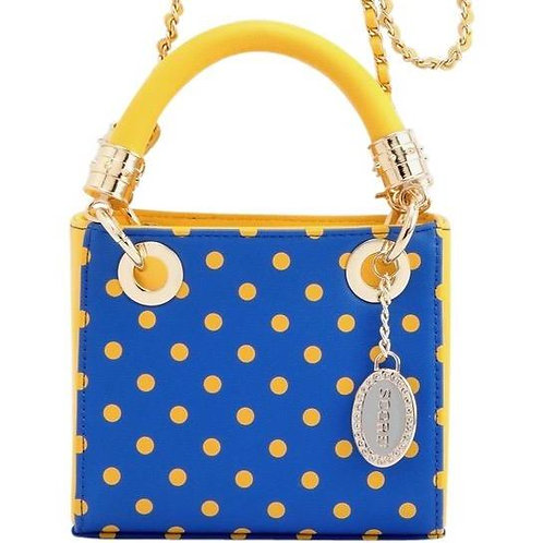 Jacqui Classic Top Handle Crossbody Satchel - Royal Blue and Yellow Gold
