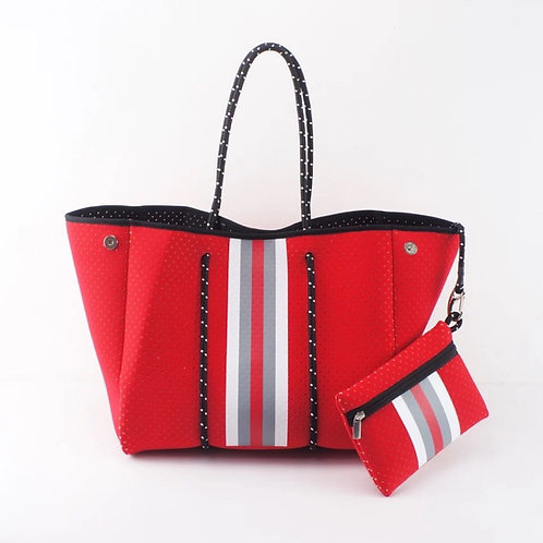 Red/White Large Fashion Tote with mini pouch