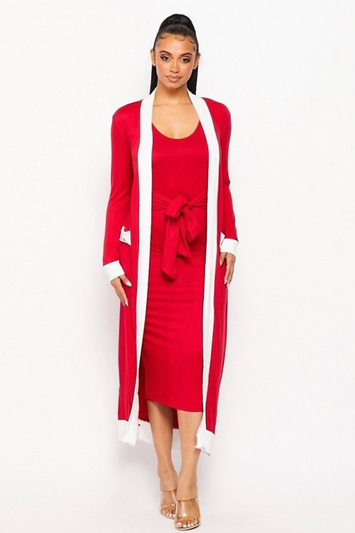 Red & White Cardigan and Tie Up Front Dress(2PCS SET)