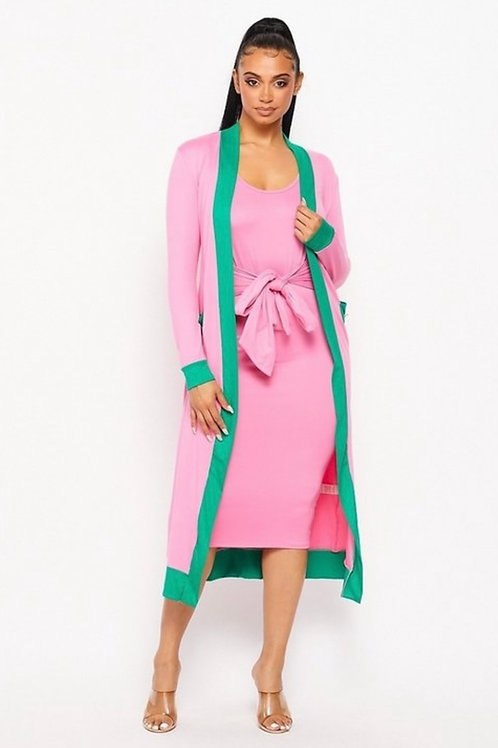 Pink & Green Cardigan and Tie Up Front Dress(2PCS SET)