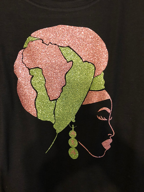 African Headwrap tee(Pink&Green)