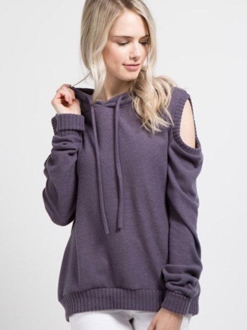 Cold Shoulder Sweater Hoodie
