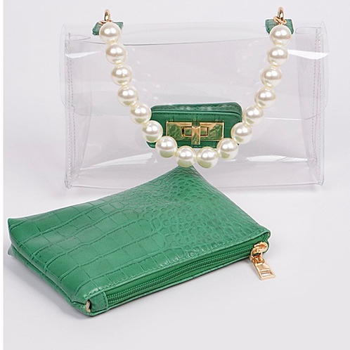 Pearl Handle Clutch With Pouch