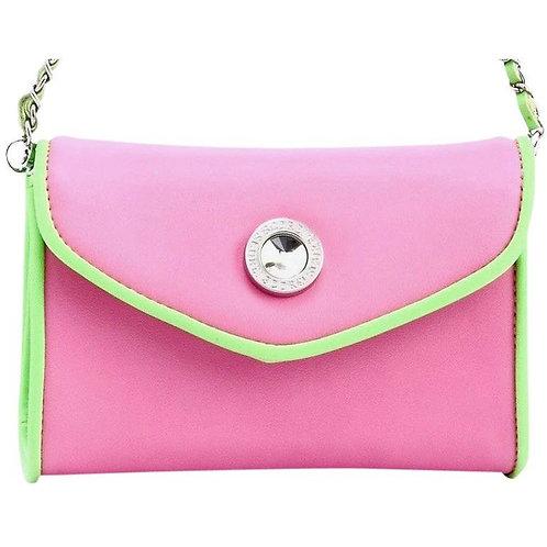 Eva Designer Crossbody Clutch - Pink and Lime Green