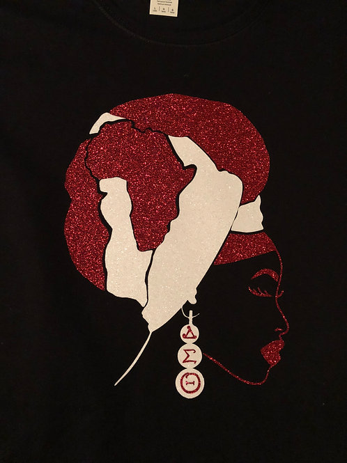 African Headwrap tee(red & white)
