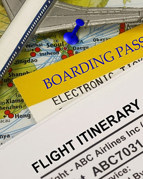 Flight Itinerary with boarding pass and