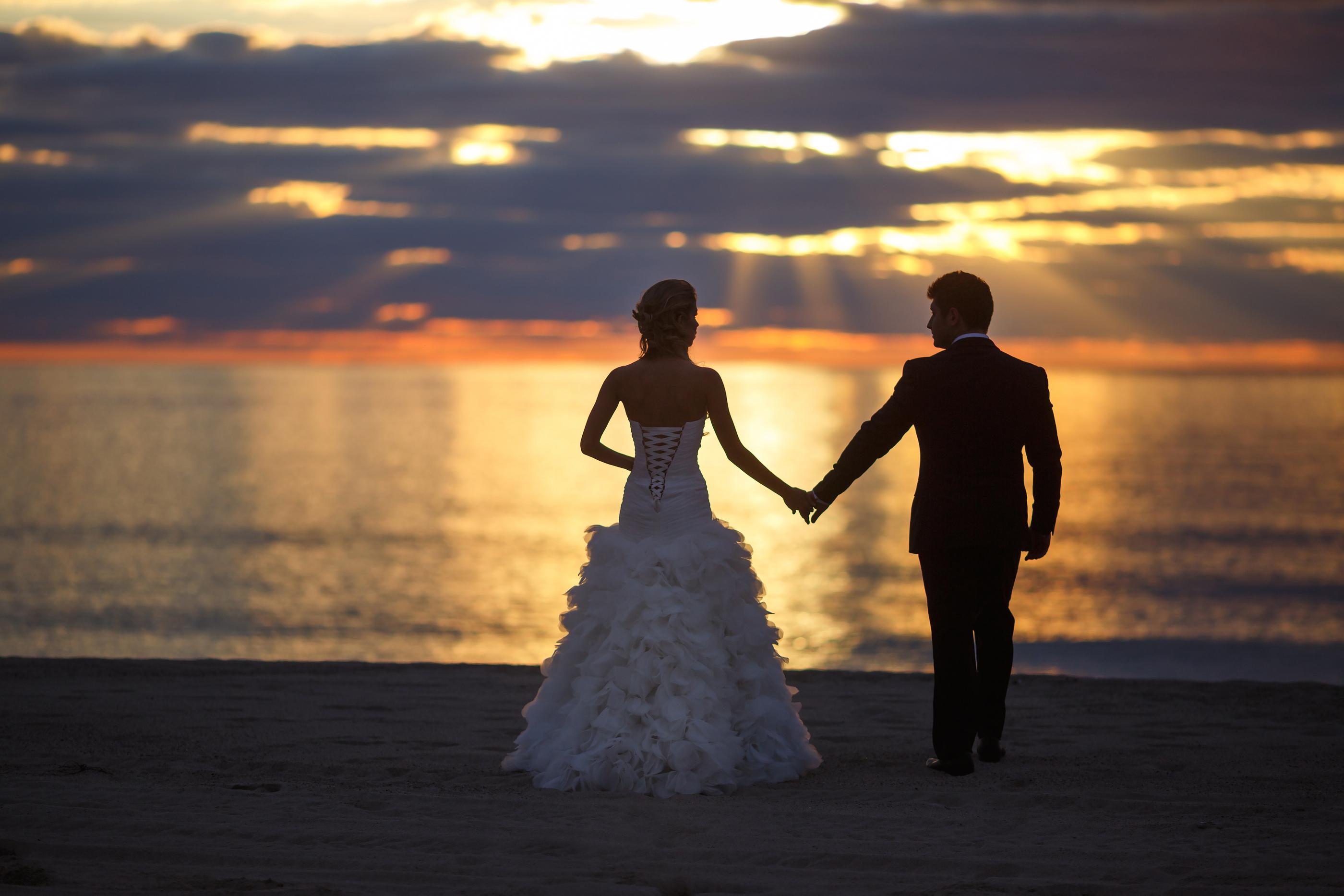 Wedding Couple In Sunset