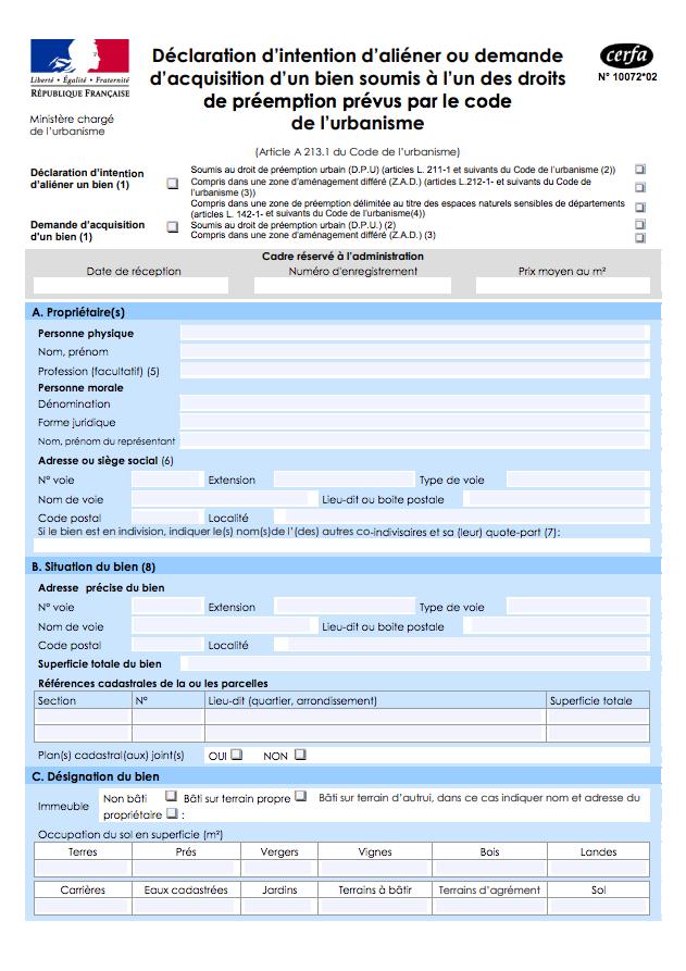 Formulaire cerfa_10072*02 concernant la DIA