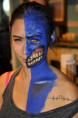 half pretty half scary makeup