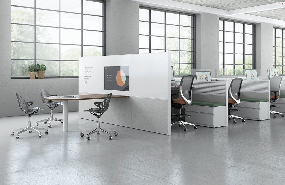 Adding technology to breakout areas as seen below is now a requirement to retain top talent in today's contemporary office.