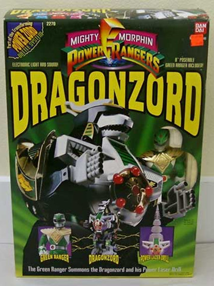 "Mighty Morphin Power Rangers Dragonzord with 8"" Green Ranger"