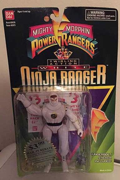 """Mighty Morphin Power Rangers 5.5"""" Twirling Action White Ninja Ranger"""