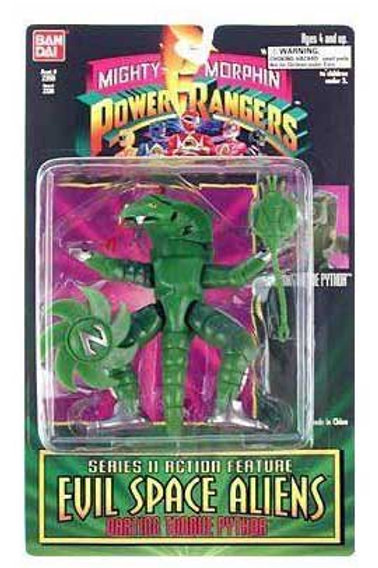 """Mighty Morphin Power Rangers Evil Space Aliens 5.5"""" Darting Tongue Pythor"""