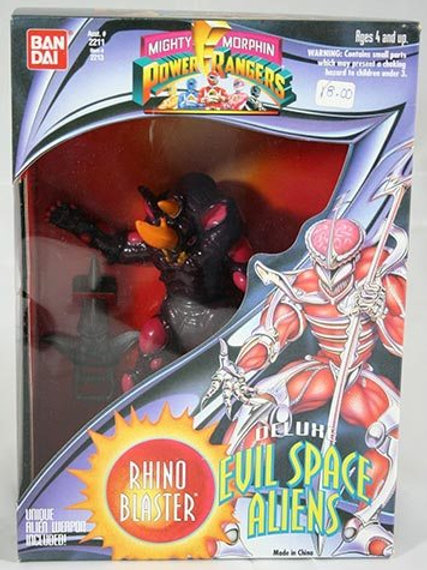 "Mighty Morphin Power Rangers Deluxe Evil Space Aliens Rhino Blaster 8"" Action Fi"