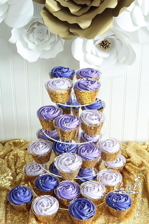 Purple Rosettes Wedding Cupcakes