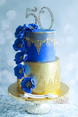 Gold and Lace 50th Birthday Cake