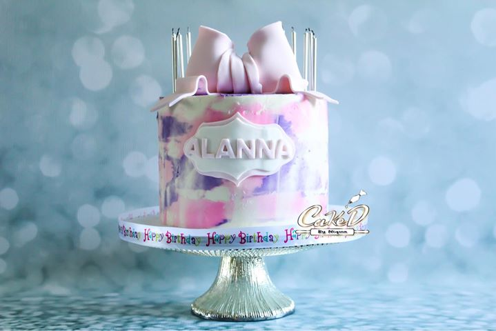Butter Cream Pink Water Color Cake