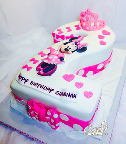 Number 2 Minnie Mouse Cake