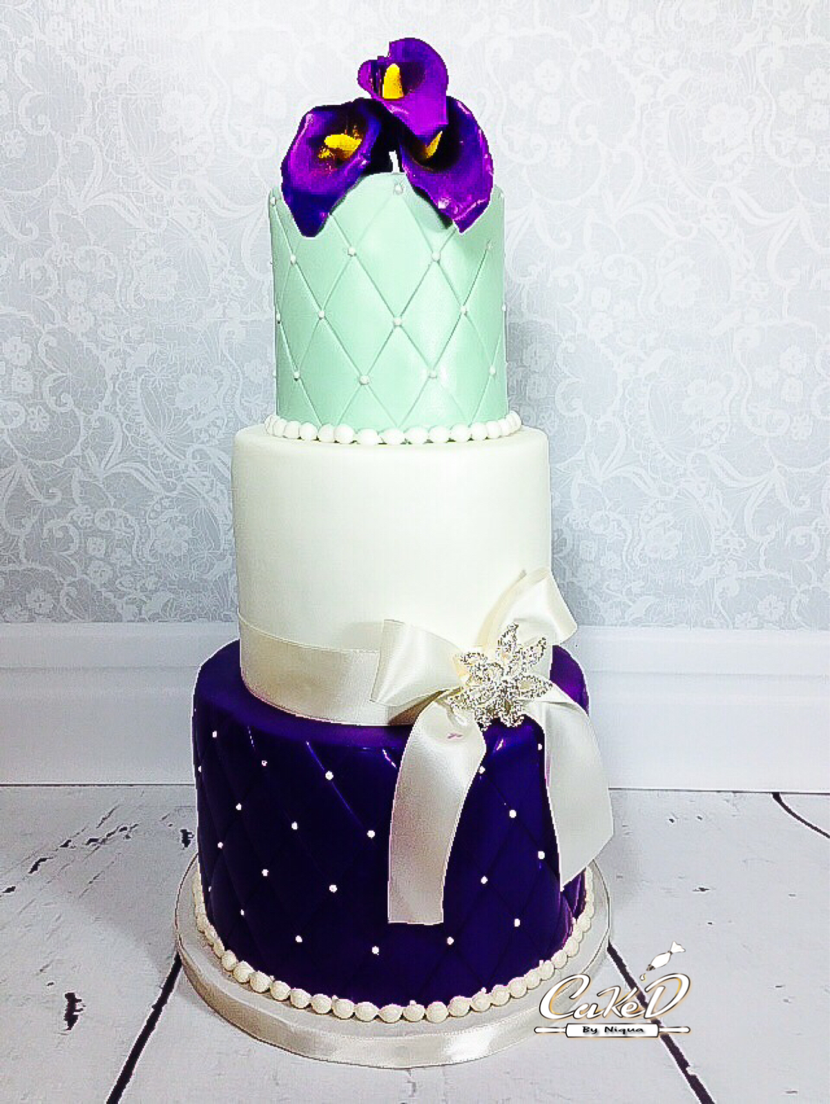 Mint Green and Purple Wedding Cake