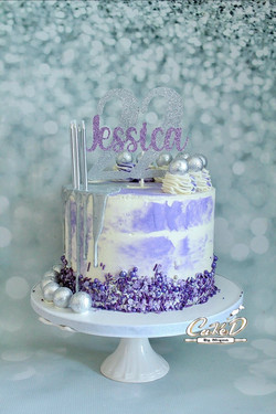 Purple and Silver Drip Cake
