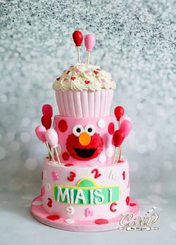 Pink Elmo 1st Birthday Cake