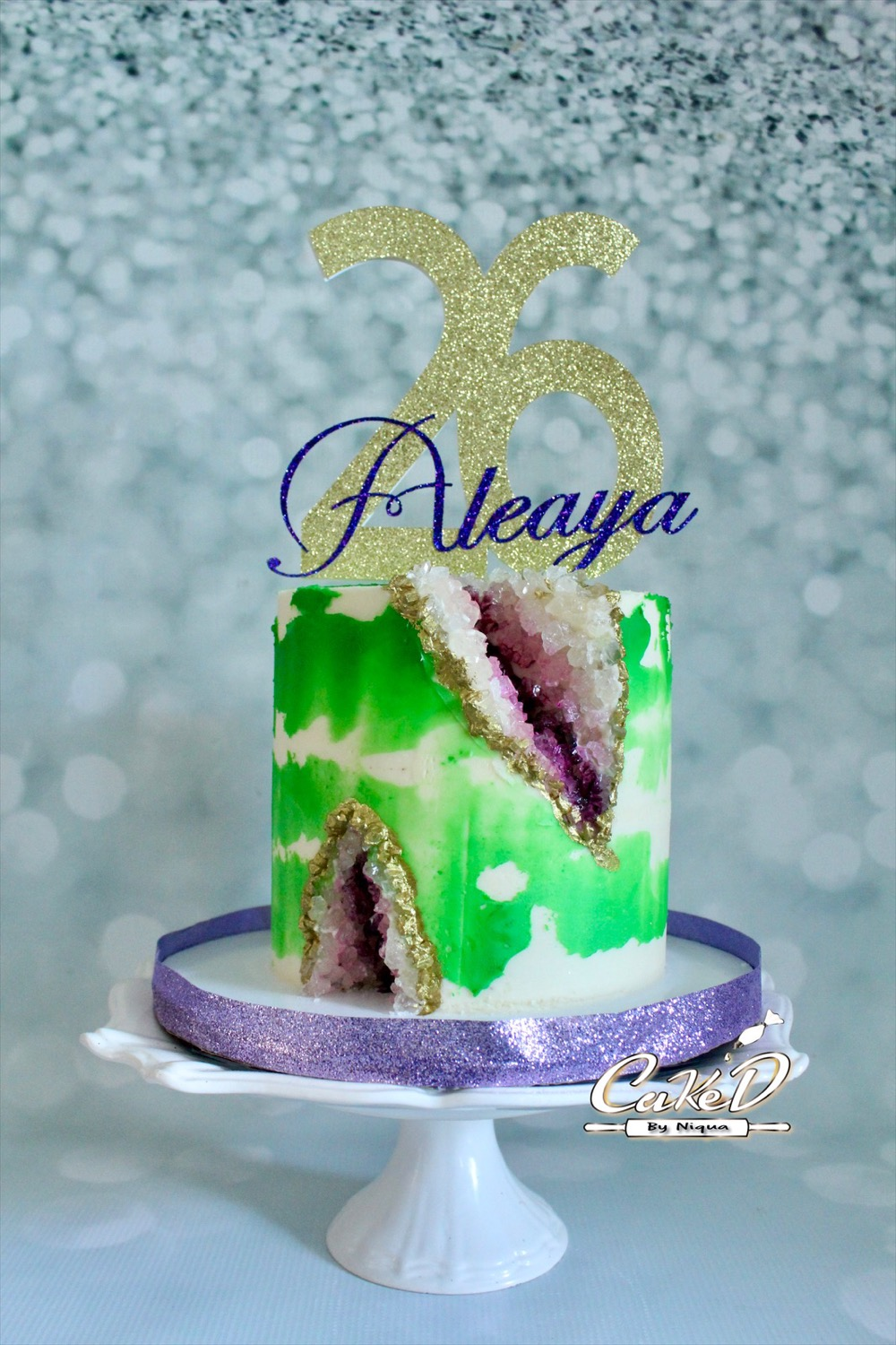 Green and Purple Geode Cake