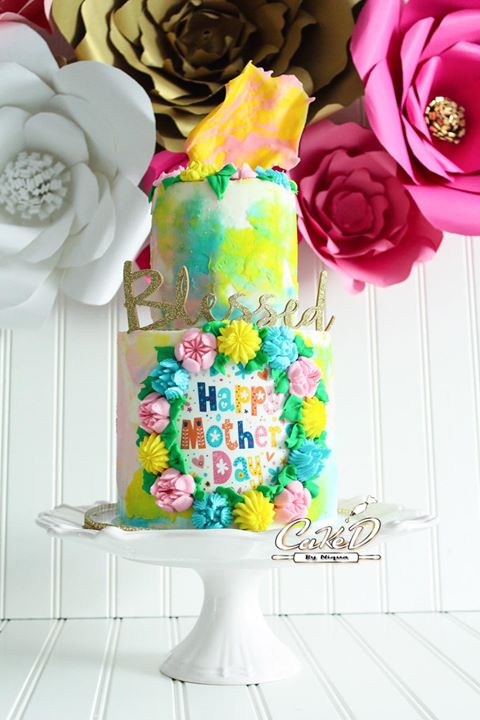 Watercolor Floral Frame Cake