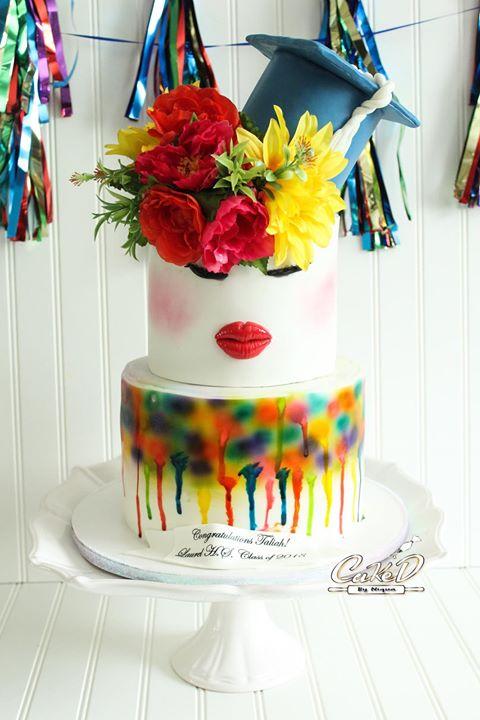 Paint Drip Graduation Cake