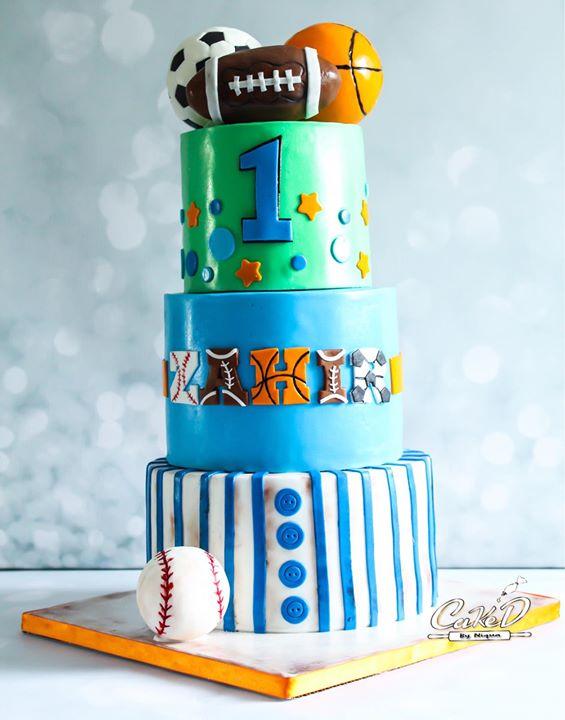 Sports Themed First Birthday Cake