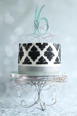 Black and White Damask Cake