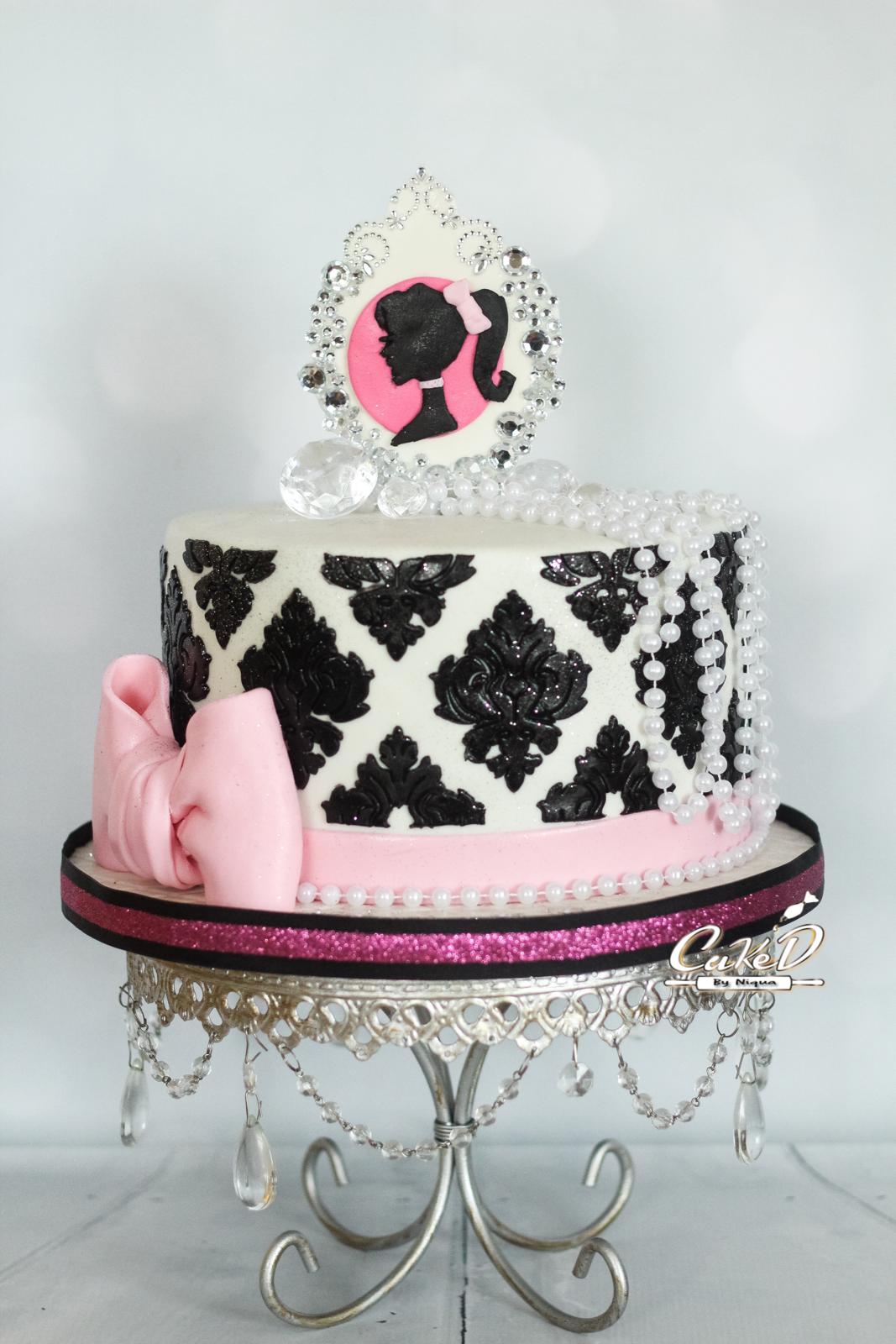 Barbie Damask Cake