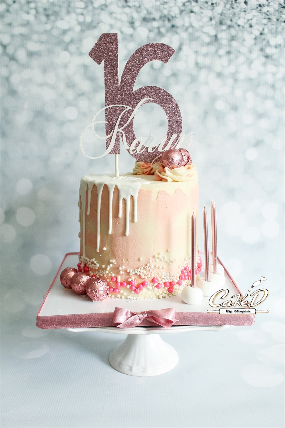 Rose Gold Sweet 16 Cake