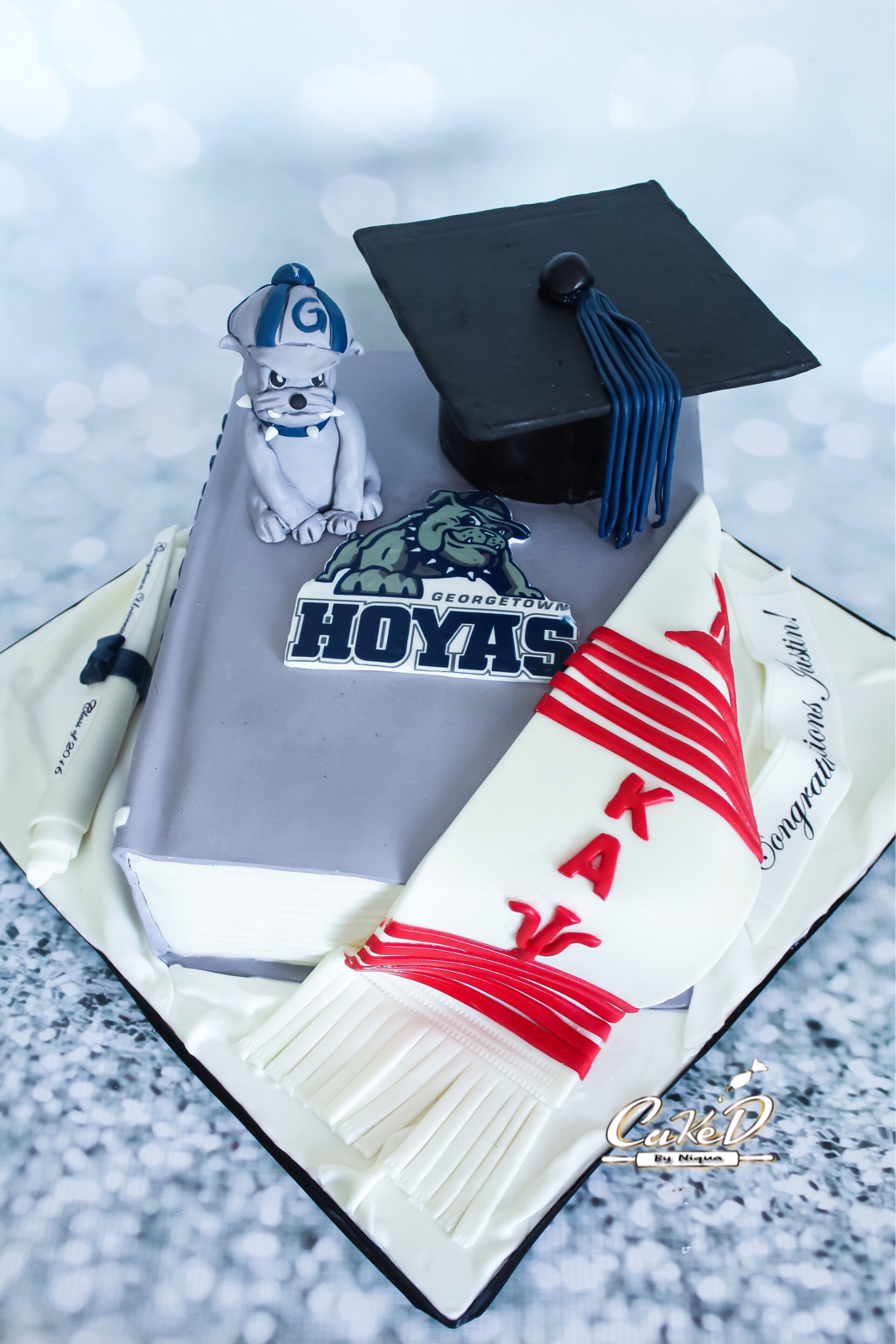 Georgetown Hoyas Book Grad Cake