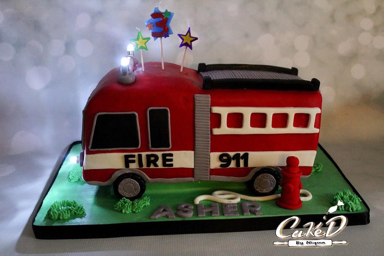 3D Firetruck Cake
