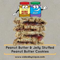 Peanut Butter & Jelly Stuffed Peanut Butter Cookies