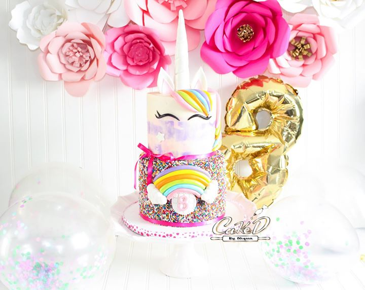 Rainbow Sprinkles Unicorn Cake