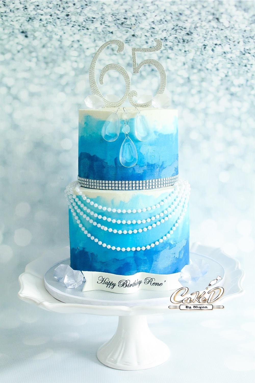 Blue Ombre Buttercream Cake