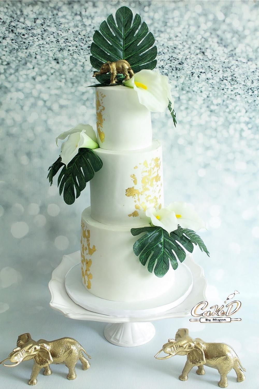 Jungle Palm Leaf Baby Shower Cake